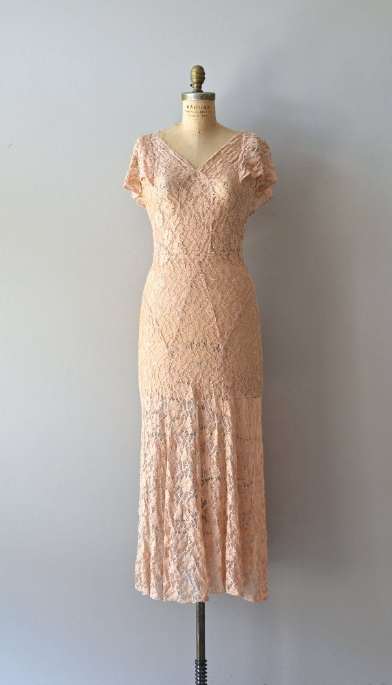 Tout Va Bien dress vintage 1930s dress lace 30s by DearGolden