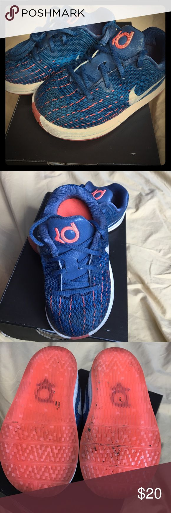 Kevin Durant 8 Blue and Neon Orange baby KD's Nike Shoes Sneakers