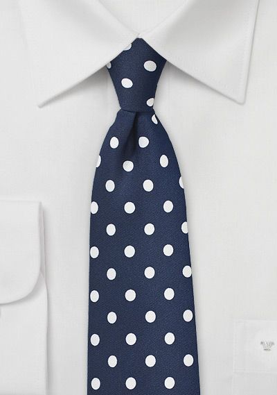 Navy Blue Necktie with White Polka Dots | $10 on Cheap-Neckties