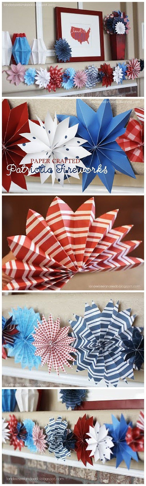 DIY Easy Paper Crafted 4th of July Fireworks Decorations - Go through your scrapbook paper stash and pull out your red, white & blue papers.  This works with cardstock as well as regular paper.