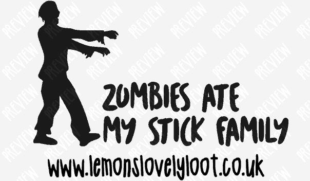 Zombies ate my stick family vinyl decal sticker vehicle car window