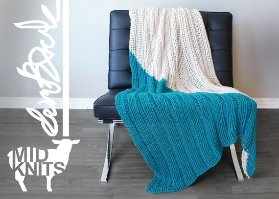 "DIY Crochet PATTERN - Triangle Color Blocked Throw Blanket  Size: 36""x64"" (2015002)"
