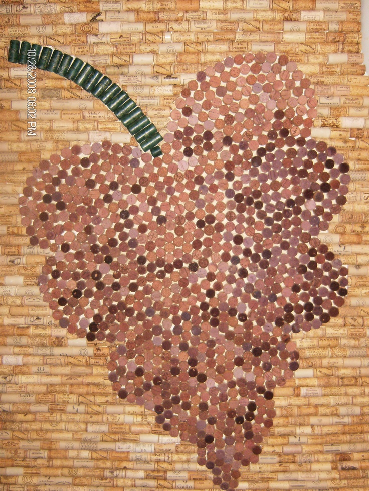 Wine Corks wall....grape made out of red wine corks..winter project!! DONE!!