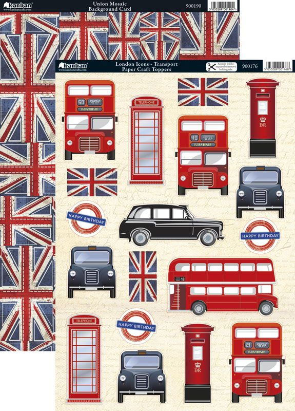 Kanban Cool Britannia die cut toppers & card - London Icons - Transport, bus, taxi