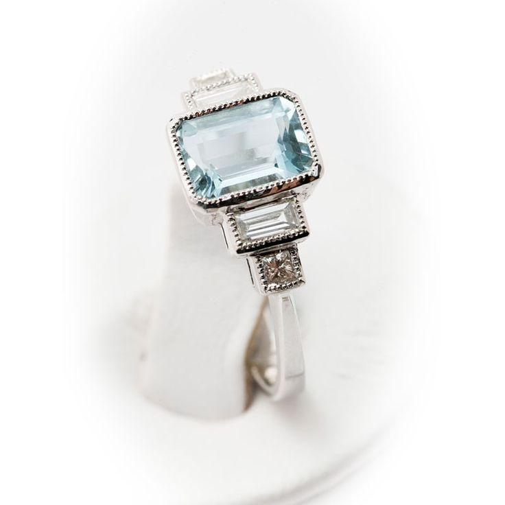 Aquamarine - Diamond - White Gold - Ring -Art Deco Style