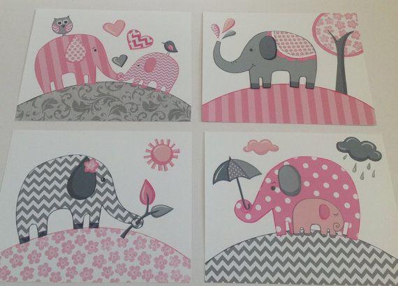 Rosa grau Elefant Chevron Kindergarten Kinder von theprincessandpea, $21.00