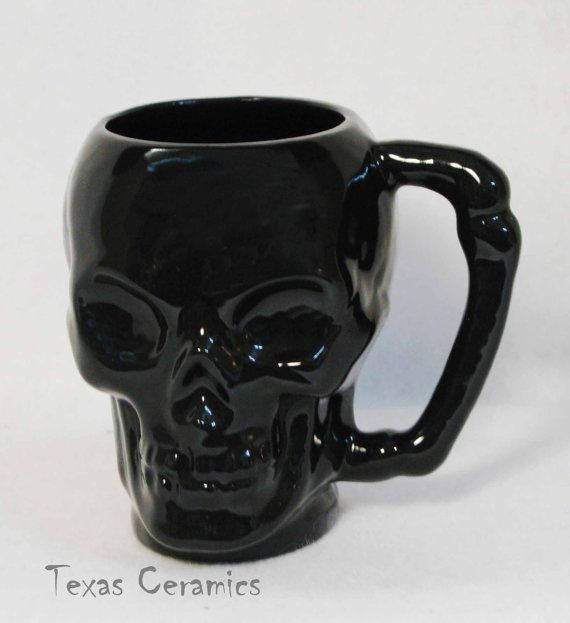 Ceramic Black Skull Mug or Cup with Bone Style by TexasCeramics