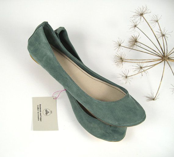 Dusty Cold Gray Suede Handmade Ballet Flats