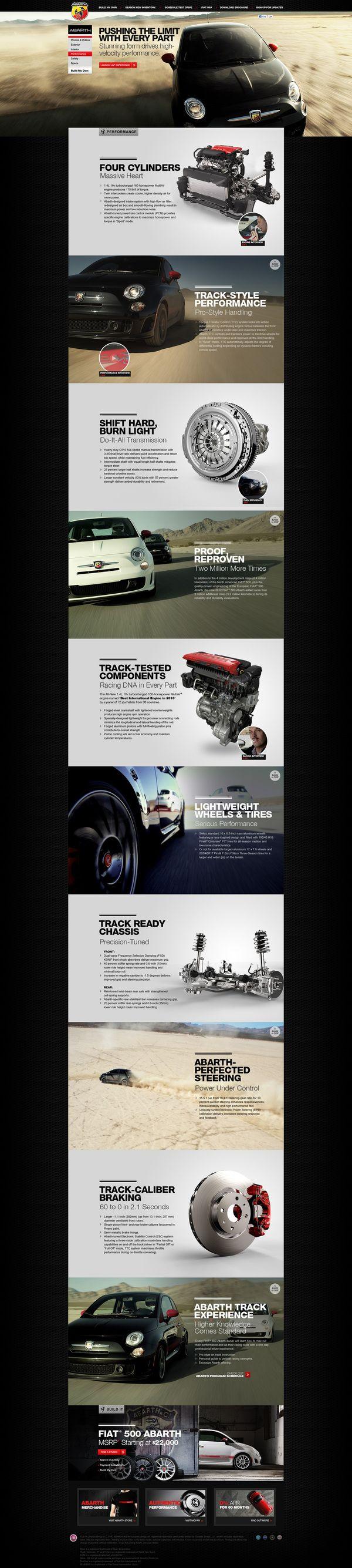 Fiat 500 Abarth Website Design by Antonio Caballero, via Behance