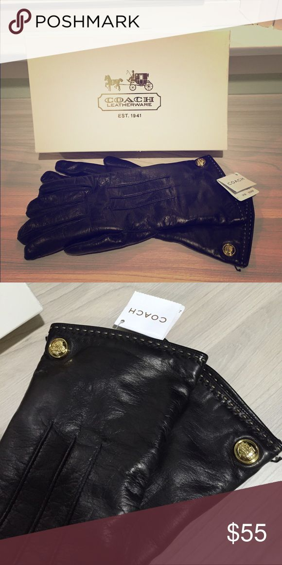 Black leather Coach gloves, lined with cashmere. NWT