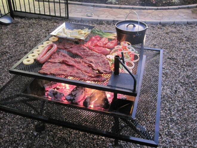 image detail for square fire pit with adjustable grill grate