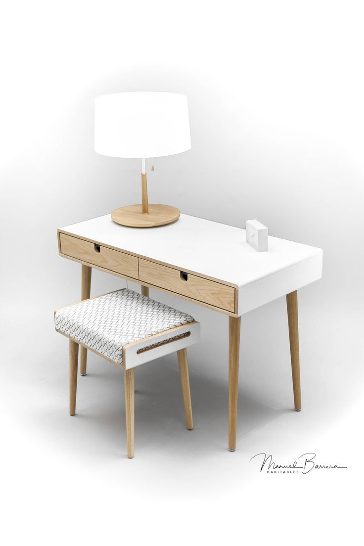 Oak desk lacquered in white, tray stool in oak board lacquered and cushion in grey cool wool (other colors consult)  Legs in solid oak  Measures:  Console- 98.5 cm wide x 50 cm deep x 75 cm high (38.7 wide x 19.6 deep x 29.5 high) 15 kg / 33 pounds weight