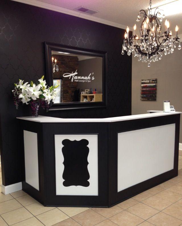 Front desk, stenciled wall. Logo on mirror. Love! - Hannah's Nail Lounge & Spa