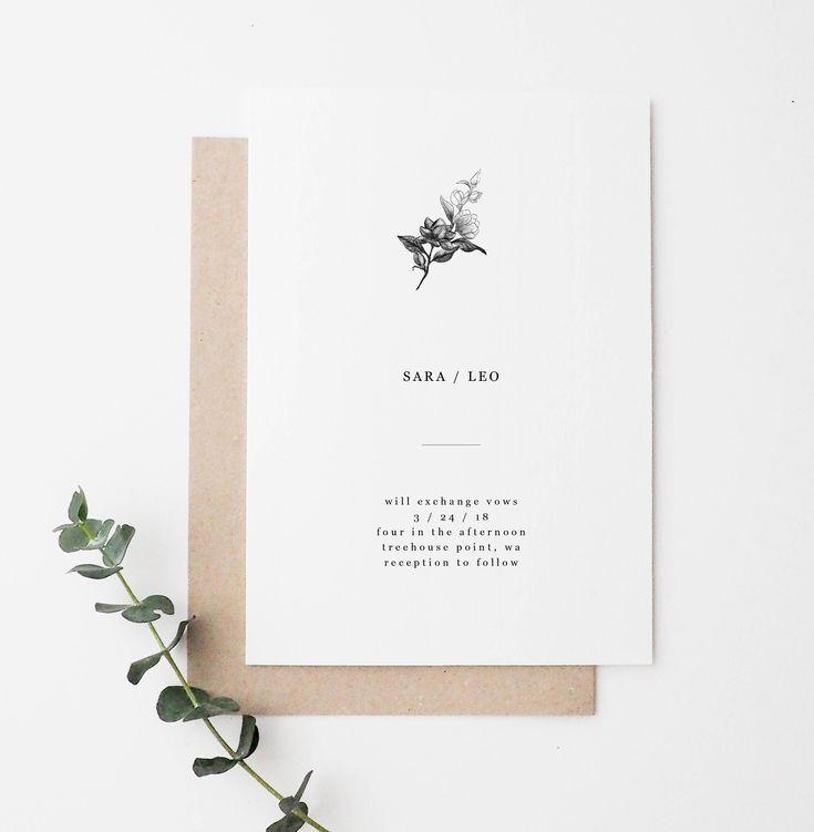 Minimal Floral Wedding Invitation In 2020 Simple Wedding Invitations Minimal Wedding Invitation Modern Wedding Invitations