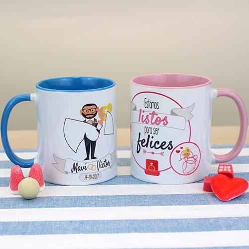 Taza para bodas o parejas con frase representativa. Ideal para regalar a novios próximos a casarse.