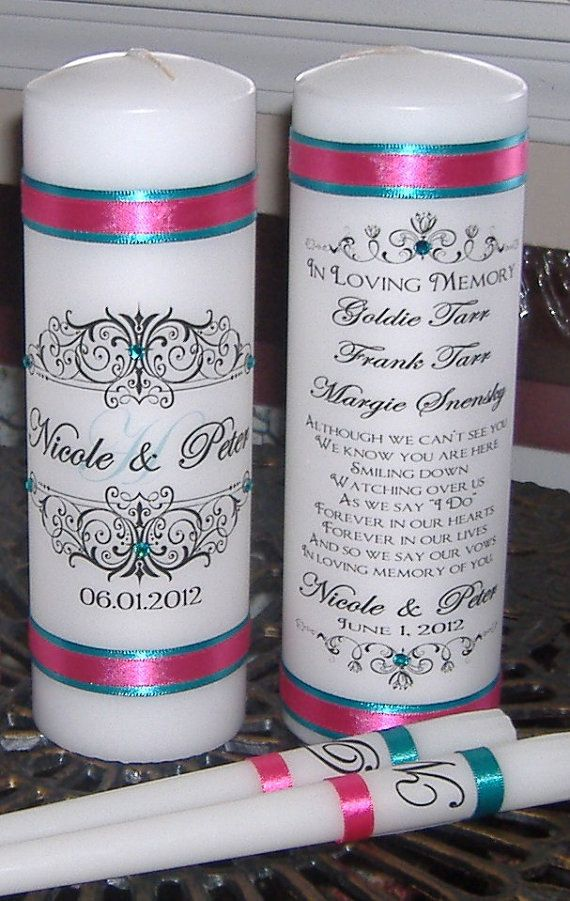 Unity Candle Set with Memorial Candle Unity Candle by wreathartist, $40.00