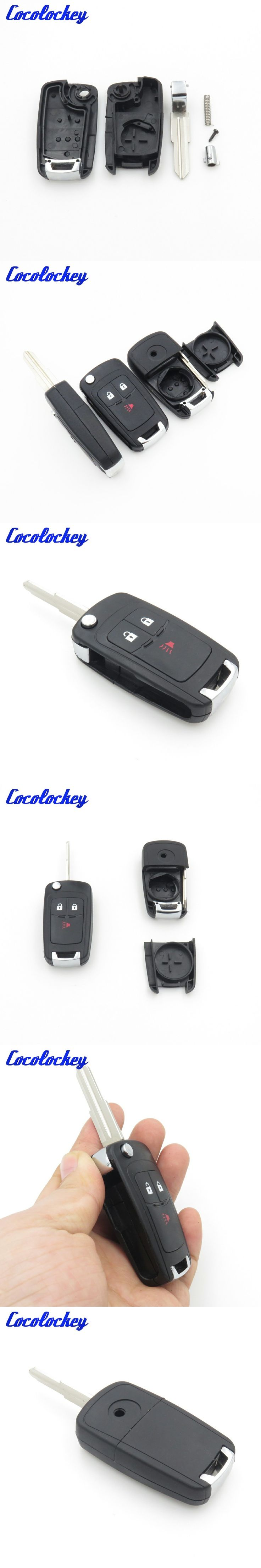 Cocolockey Entry Folding Flip Remote Car Key Shell Fit for CHEVROLET Spark Car Replacement Blank Key Fob 3 Buttons