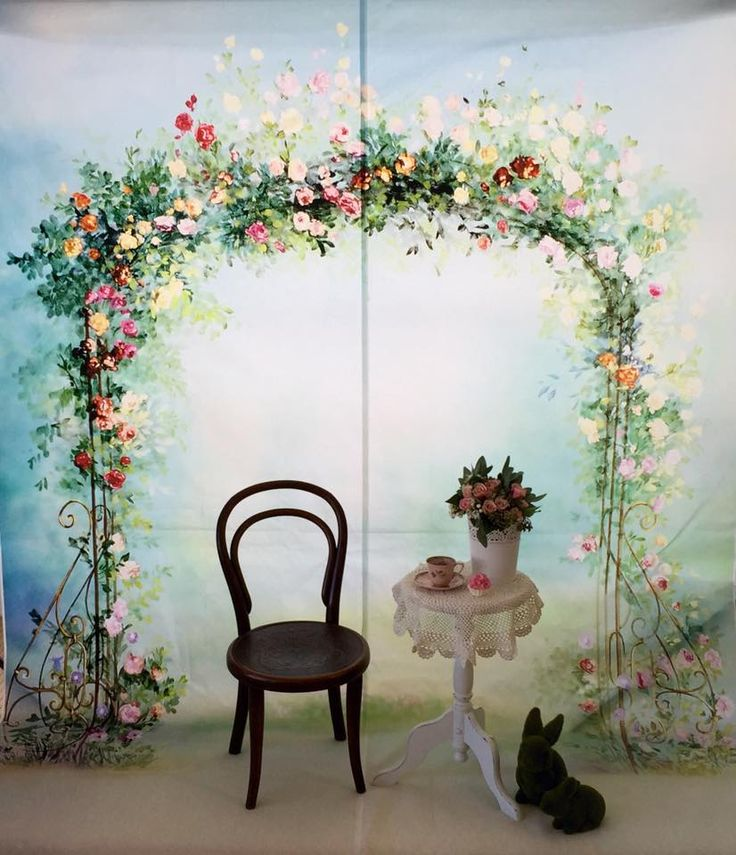 Flower archway for wedding signing.
