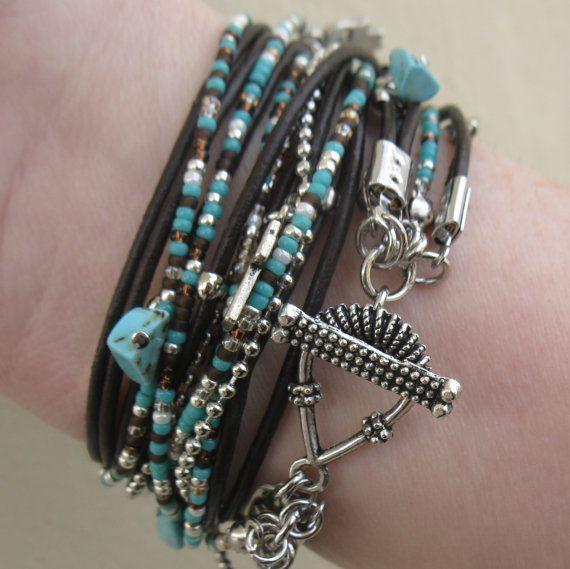 Wrap Bracelet Boho Bracelet Leather Wrap Endless by DesignsbyNoa