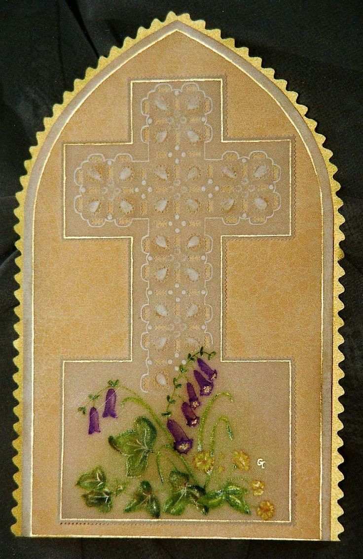 Church window sympathy card, decorated with a cross of cut work and embossing design, and painted flowers.