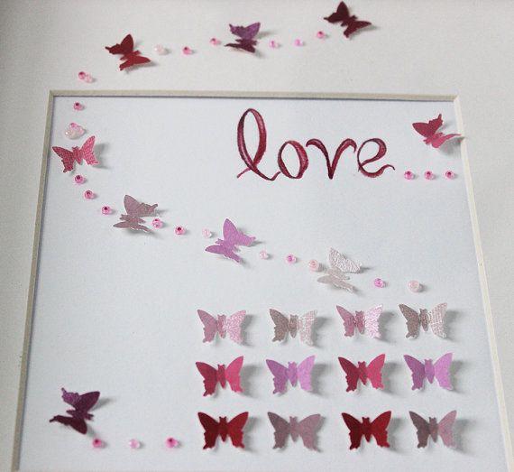 Rosa und weiße 3D-Kunst Schmetterling von MKKidsInteriors auf Etsy