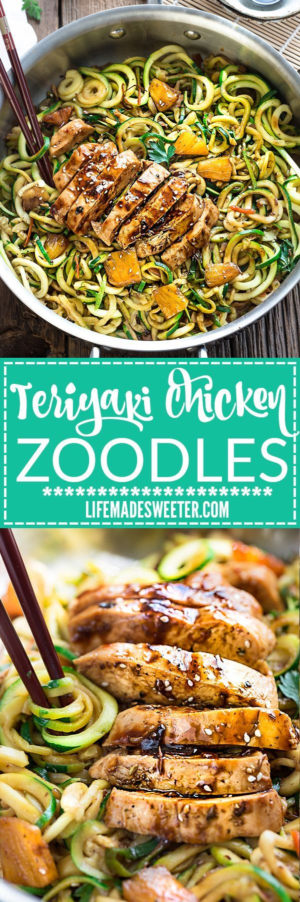 One Pot Teriyaki Chicken Zoodles {Zucchini Noodles} make the perfect easy low carb weeknight meal! Best of all so much better than takeout - only 30 minutes to make with just one pan to clean! Weekly meal prep for the week and leftovers are great for lunch bowls for work or school.