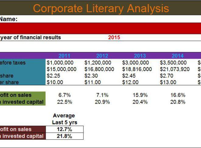 Corporate Literary analysis template