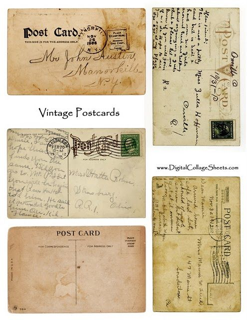 free collage sheet vintage postcards for scrapbooking