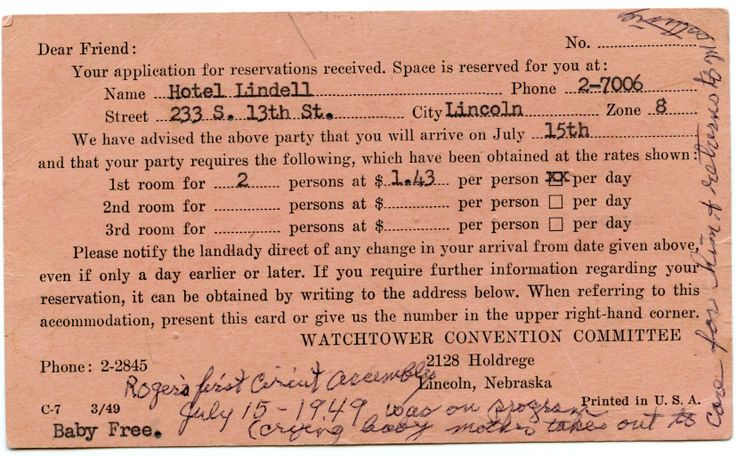 July 15, 1949 convention This was my first part on a convention program. It was a demonstration on how to care for a crying baby during a meeting. Mom starved me all day & wouldn't let me sleep so I would be cranky. I cried on time because mom gave me a little pinch. She took me out, fed me, and I went to sleep. She then brought me back on stage.