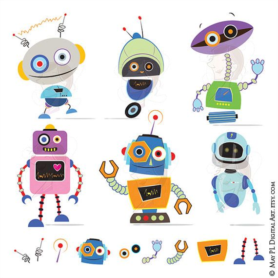 Robots Clipart VECTOR Clip Art Cute Robots Party Little Birthday Party Digital Scrapbook Metal Tin Robots DIY invitation cards 10480 #Robots #Party #Little