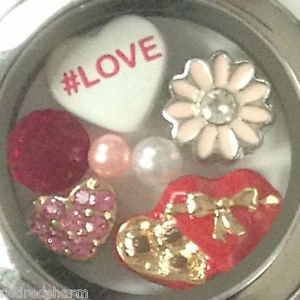 AUTHENTIC-ORIGAMI-OWL-LOCKET-w-ALL-ORIGAMI-OWL-CHARMS-HEART-CHOCOLATE