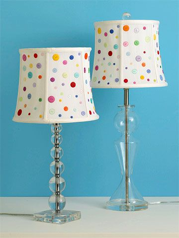 Button lampshade - Some of us end up with way too many extra buttons, this is a very cute way to make use of them.