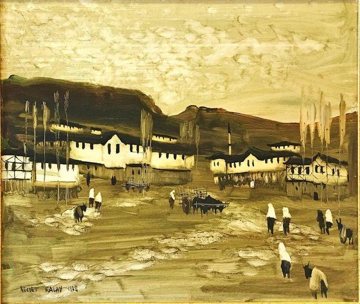 @galeriaysil Mejdet Kalay 50x60 Duralit üzeri yağlıboya safranbolu evleri 1985 İrtibat Taner Eke 0541 303 94 08.