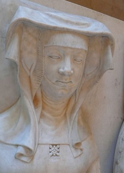 Catherine d'Alencon Duchess of Bavaria (1396-1462),daughter of Peter III of Alencon,memeber of the house of Valois-Alencon and Marie Chamaillart ,Vicomtesse de Beaumont-au-Maine,image from her tomb effigy that was comissioned while she was still alive
