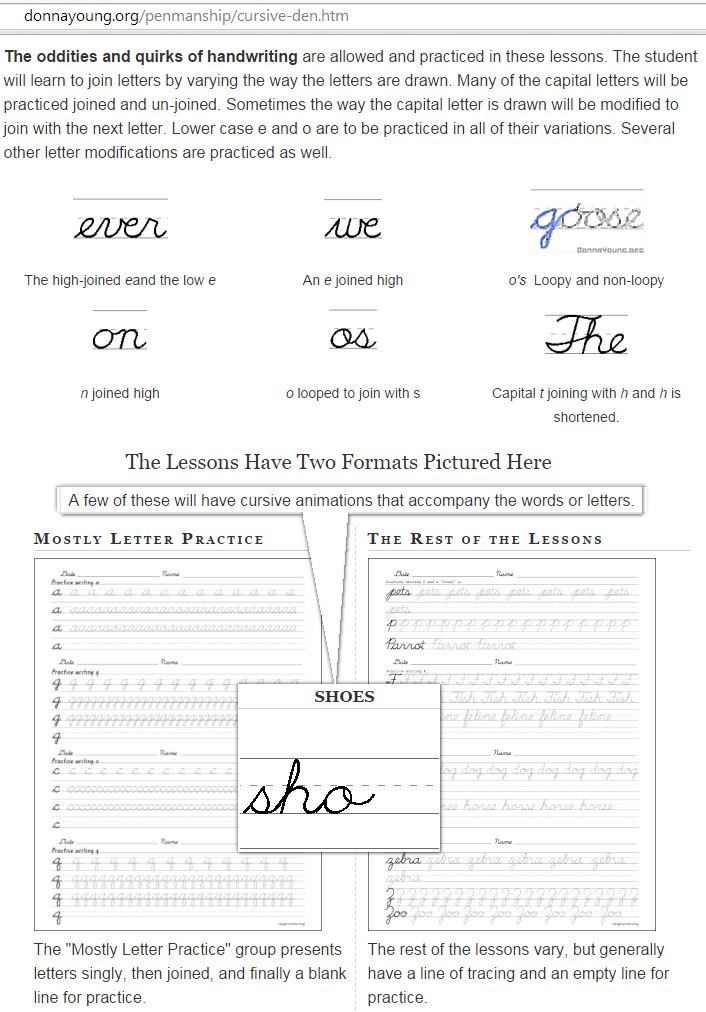 Cursive Handwriting Practice Worksheets. There are 28 printable files and each file has 4 lessons which means there are 112 lessons. Some of the lessons have an accompanying cursive word handwriting animation. I made these handwriting lessons with the BJUP cursive handwriting font, but I altered letters so that the student will learn to join letters by varying the way the letters are drawn. ..DY..