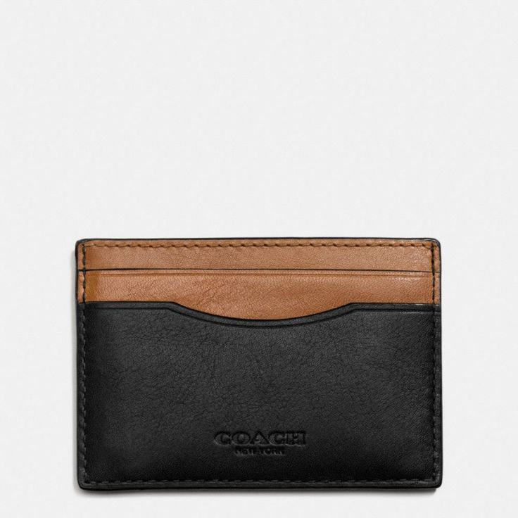 Card Case in Sport Calf Leather (Black/Saddle)