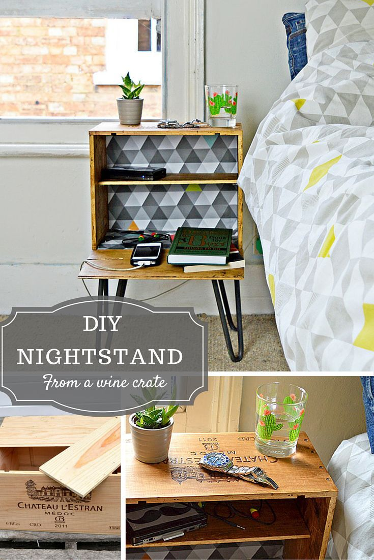 DIY Nightstand - Upcycle a wine crate into a fabulous bedside table with  shelves and hairpin