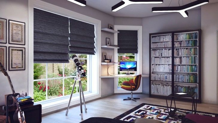 Bedroom, Telescope Gray White Decor Scheme Corner Desk Wooden Floor Curtain Carpet Coffee Table Bookcase Books Guitars Photos Pencils Contemporary Teenage Boys Bedroom Concrete Lamps Table Lamp Chair And Window ~ Beautiful Teenage Room As Well As Possible