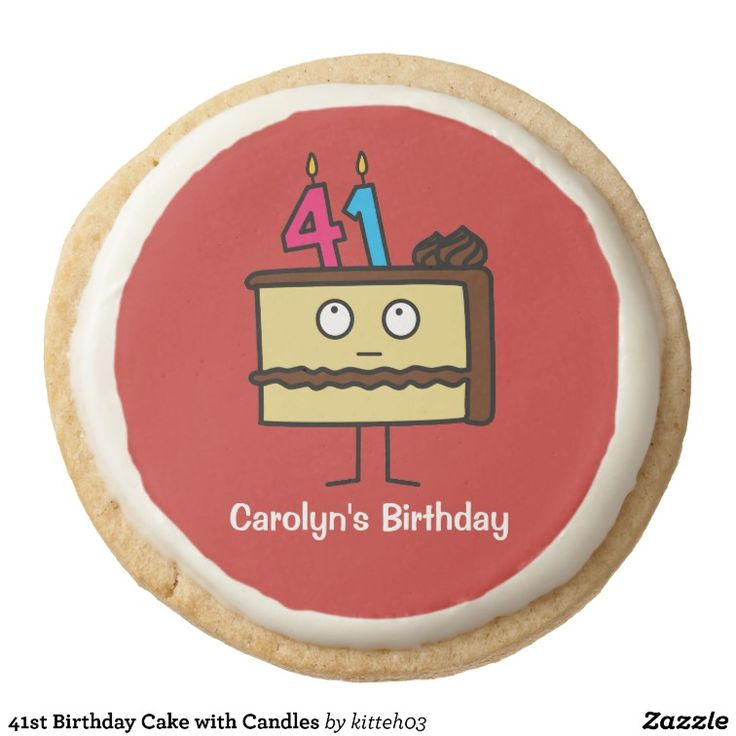 41st Birthday Cake with Candles Round Shortbread Cookie   Zazzle