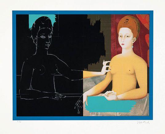 """Original-Serigrafie """"Gabrielle d'Estrées und ihre Schwester"""" von Paul Wunderlich - Hannover - Drucke › Kunstplaza, http://www.kunstplaza.de/online-galerie/"""