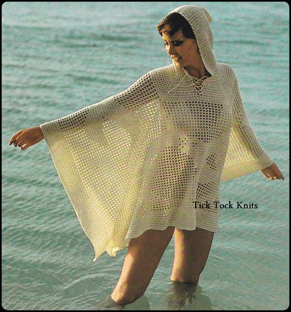 Vintage 1970s crochet pattern PDF to make a womans Hooded Beach Cover-up / Poncho in an airy mesh filet crochet stitch with optional seagull motifs