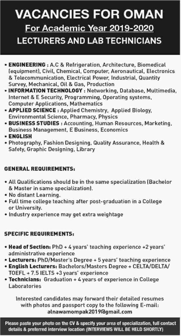 Lecturers And Lab Technicians Required For Oman Apply Now Overseas Jobs Lab Technician Applied Science