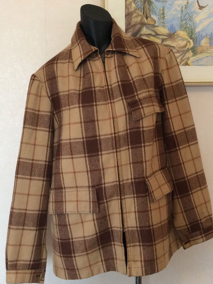 Vintage Swanndri Rover Wool Outdoors Jacket M Camel,  Brown  with Tan  Plaid   Made in New Zealand by KiwiFunk on Etsy https://www.etsy.com/ca/listing/498352772/vintage-swanndri-rover-wool-outdoors