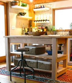 Kitchen, Minimalist Kitchen Island For Creative Farmhouse Kitchen Ideas With Tribal Rug: Small Kitchen Island Designs for Farmhouse Kitchen Ideas