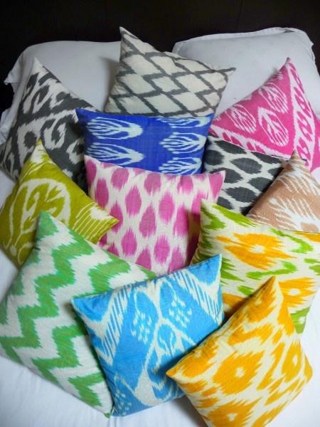 .: Living Rooms, Ikat Pillows, Ikat Cushions, Ikat Prints, Throw Pillows, Colors Pillows, Bright Pillows, Design Blog, Bright Colors