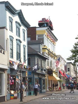 Newport, Rhode Island, cobblestone streets, shops and galleries. Lots of great shops and many restaurants on this street.
