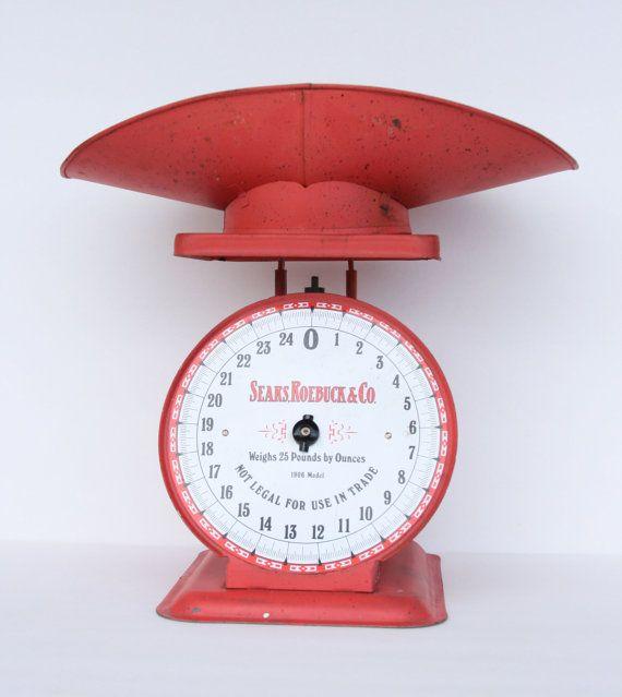 Reserved For September /Vintage Red Kitchen Scale