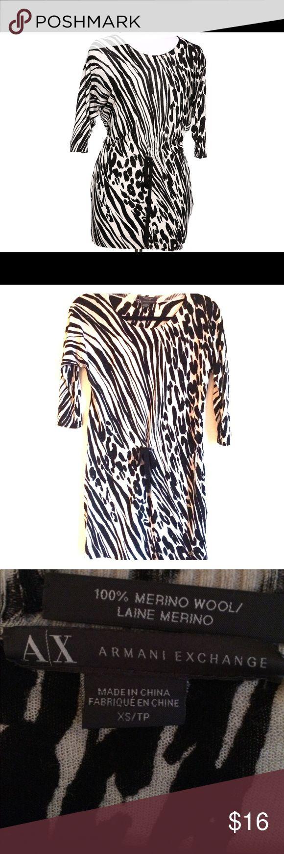 SALE - Armani Exchange Zebra Print Dress Long Sleeved zebra print dress/tunic. Perfect for winter. Truth to size. No trades. Like New! A/X Armani Exchange Dresses Long Sleeve