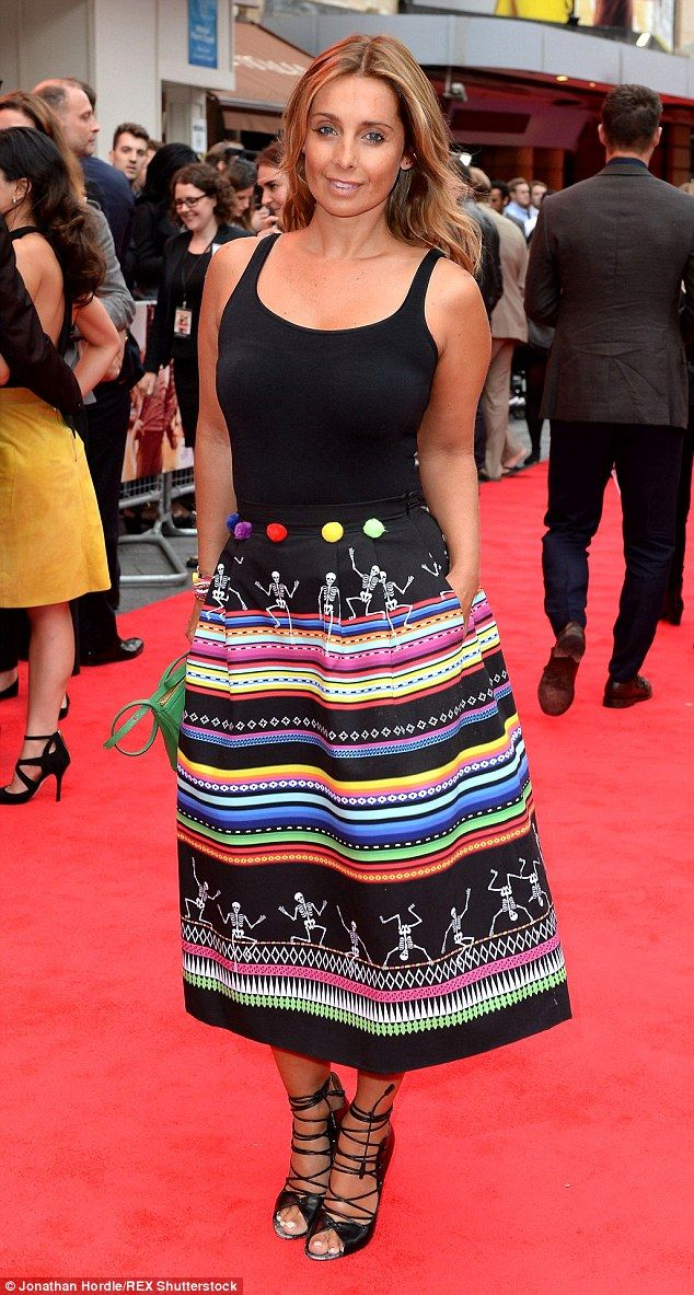 Cute and colourful: The 40-year-old star donned a daring structured skirt bearing a dancin...