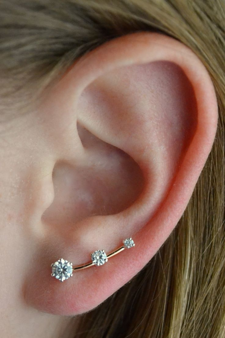 Ear Pin Mini CZ - 14K Gold Filled and Sterling Silver - Single or Pair by ChapmanJewelry on Etsy